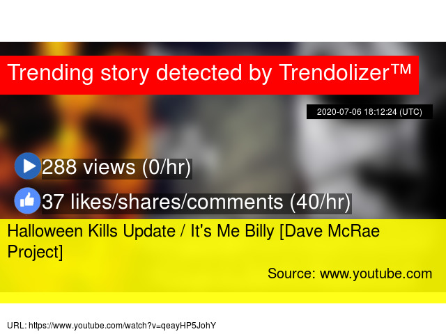 Halloween 2020 Youtube Dave Halloween Kills Update / It's Me Billy [Dave McRae Project]